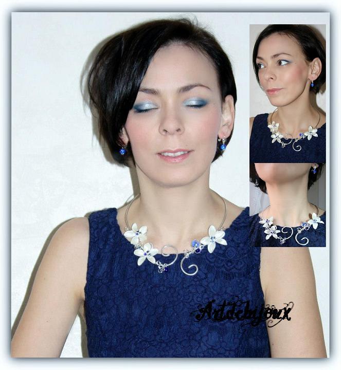 Parure bijoux bleu nuit